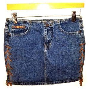 l.e.i. Denium Mini Skirt with Leather Strings